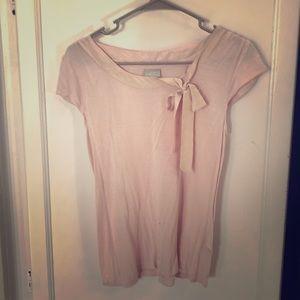 Tops - H&M Pale Pink Ribbon Blouse M